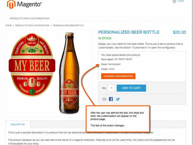 After the user has customized the product, his customization appears on the product page.