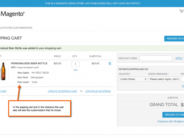 Customization appears as well in the cart of magento shop.