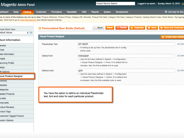 Backend of customizable products. Default placeholder text, font and color can be defined.